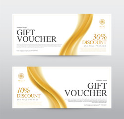 Template Gift Voucher Coupon Discount, Background Gold Design, Vector illustration
