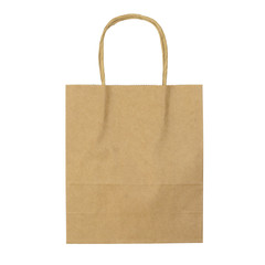 Empty Paper bag isolated on white background.