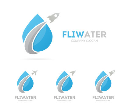 Vector of rocket and drop logo combination. Airplane and aqua symbol or icon. Unique water and oil logotype design template.