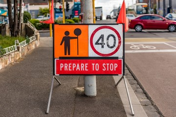 "Australian ""Prepare To Stop"" road sign with 40 kilometre per hou"