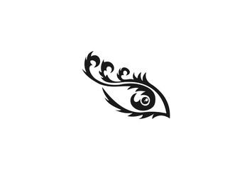 Eye tattoo. Maori tribal tattoo. Eye tribal tattoo in Polynesian style. Celtic ornament in traditional medieval style for ethnic embellishment and tattoo design. Stylized ornamental eye.