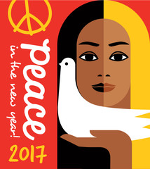 retro style 2017 new year design with peace message and girl holding a dove. For posters, cards, banners.