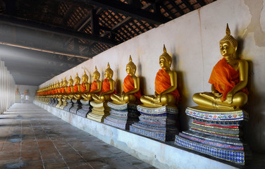 Buddha at Phutthaisawan Temple , Raw of Buddha Statues in Ayutthaya, Thailand.