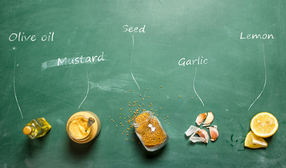 Ingredients for making mustard with inscriptions.