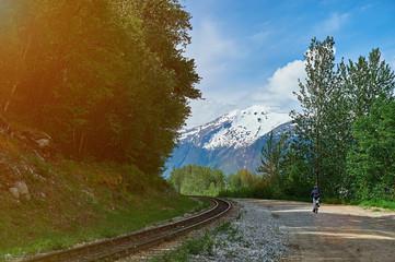 bike hiking in mountain