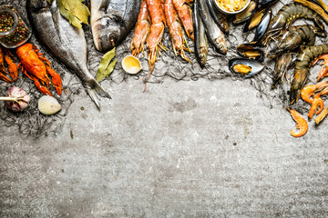 Fototapete - Fresh seafood with a fishing net.