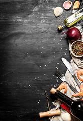 Fototapete - Wine with seafood and spices.