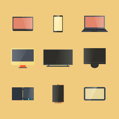 Icons digital devices with display, vector illustration.