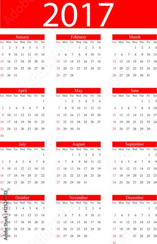 """Calendario 2017 Inglese festività Italia"""" Stock image and royalty ..."""