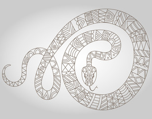 Illustration of abstract contour of a snake on white background