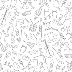Seamless pattern on the theme of masquerade and carnival , simple contour icons, black contour on white background