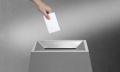 Ballot voting box with blank  paper. Bulletin concept.