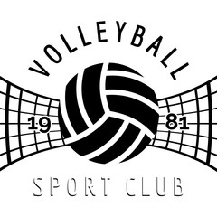 Black and white volleyball emblem isolated on white. Vector illustration