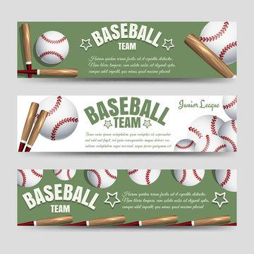 Sport horizontal banners template. Baseball team banners vector illustration
