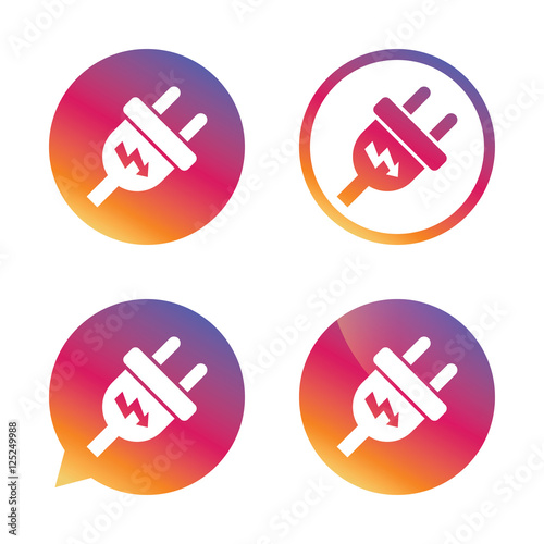 "Plug Power Stock Quote: ""Electric Plug Sign Icon. Power Energy Symbol."" Imagens E"