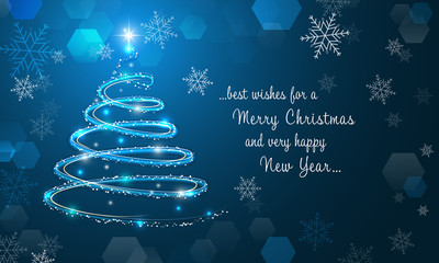 Shiny Christmas tree and snowflakes on blue winter background. Merry Christmas and Happy New Year wallpaper.