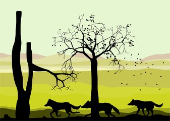 Wolves vector black silhouettes running, wildlife vector landscape