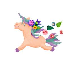 Plasticine  Fantasy Unicorn sculpture isolated