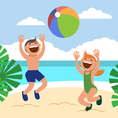 Funny kids on the beach. Happy boy and girl sunbathe and play beach volleyball on the beach.