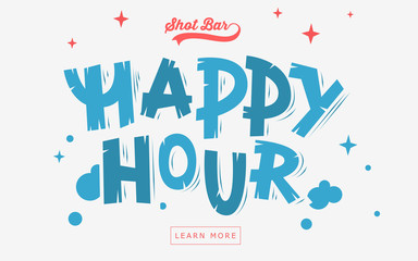 Happy Hour  Web Banner, Header, Cover. Artistic Comic Lettering