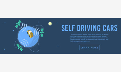 Self Driving Car  Web Banner, Header, Cover. Flat Vector Graphic