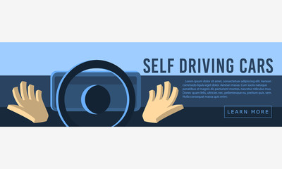 Self Driving Cars  Web Banner, Header, Cover. Hands Free From Th
