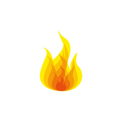 Colorful icon fire on white background.