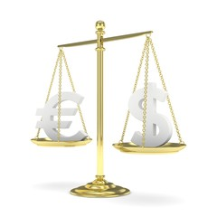Isolated golden scales with silver dollar and euro currency. American and european finance. Measuring of market stability. 3D rendering.