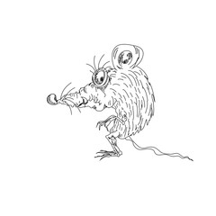 Rat mouse sketch cartoon character isolated on white
