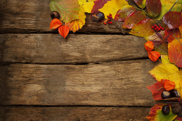 wooden background with colorful autumn leaves
