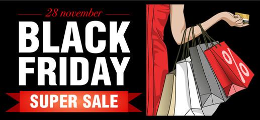 Elegant shopping woman Black Friday. Vector illustration