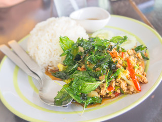 Rice with pork and basil