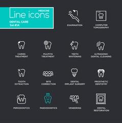Dental Care - Single Line Pictograms Set
