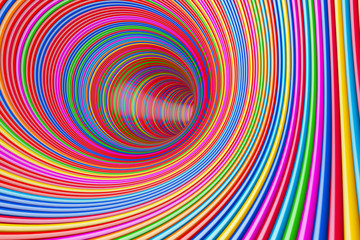 Hypnotic Psychedelic Multicolour Circles Tunnel. 3d Rendering
