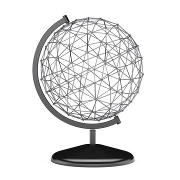 Wire Earth Globe Stand. 3d Rendering