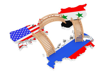 Bridges between USA, Russia and Syria Maps. 3d Rendering