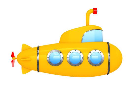 Toy Cartoon Styled Submarine. 3d Rendering
