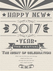 2017 HAPPY NEW YEAR FLAYER VINTAGE RETRO POSTER