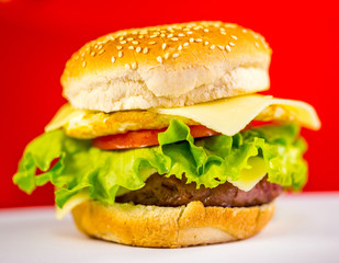 Hamburger with a Red Background