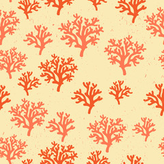 Seamless pattern of red, orang, yellow corals