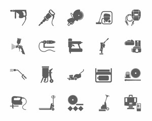 Construction tools and consumables, monochrome icons. Gray, vectors, equipment for construction and renovation on a white background.