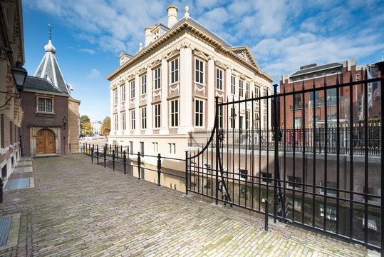 Canal side view of Mauritshuis museum front entrance building ne