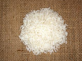 Thai jasmine rice on sackcloth