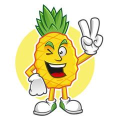 Peace pineapple mascot, pineapple character, pineapple vector