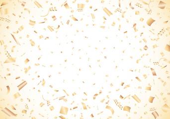 Golden confetti on white background Vector
