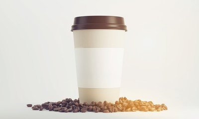 Paper cup of coffee with holder surrounded by beans and standing