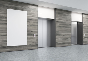 Two closed elevators in corridor with wooden walls and poster