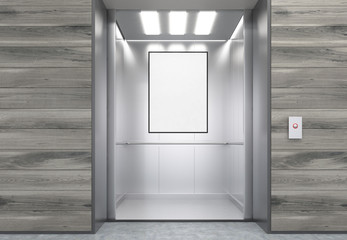 Close up of elevator cabin with vertical poster