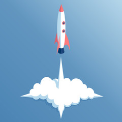 start isometric missiles, launch isometrical spacecraft, concept startup illustration