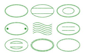 Set of green oval shape postal stamp and postmark on white backg